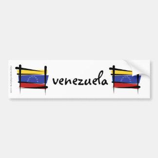 Bandera del cepillo de Venezuela Etiqueta De Parachoque