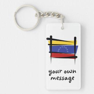 Bandera del cepillo de Venezuela Llavero Rectangular Acrílico A Doble Cara