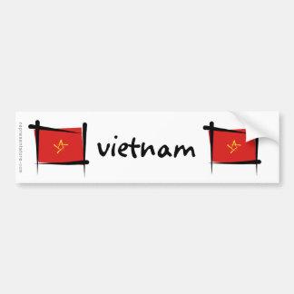 Bandera del cepillo de Vietnam Etiqueta De Parachoque