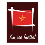 Bandera del cepillo de Vietnam Invitación 10,8 X 13,9 Cm