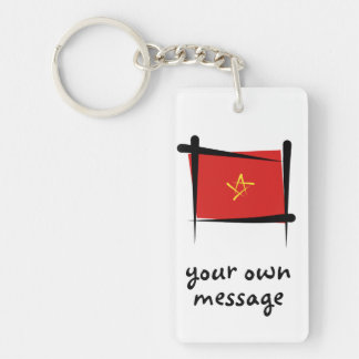Bandera del cepillo de Vietnam Llavero Rectangular Acrílico A Doble Cara