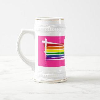 Bandera del cepillo del arco iris jarra de cerveza