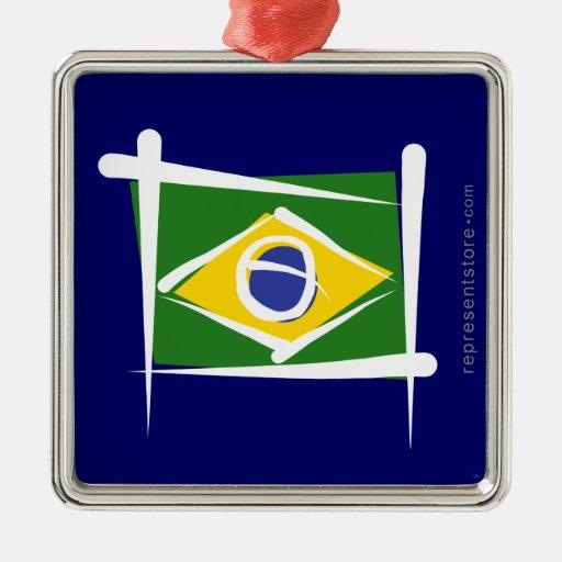 Bandera del cepillo del Brasil Adorno Navideño Cuadrado De Metal