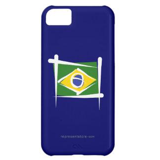 Bandera del cepillo del Brasil Funda Para iPhone 5C