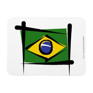 Bandera del cepillo del Brasil Imán Foto Rectangular