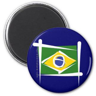 Bandera del cepillo del Brasil Imán Redondo 5 Cm