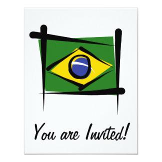 """Bandera del cepillo del Brasil Invitación 4.25"""" X 5.5"""""""