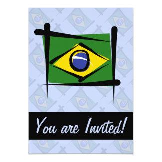 """Bandera del cepillo del Brasil Invitación 5"""" X 7"""""""