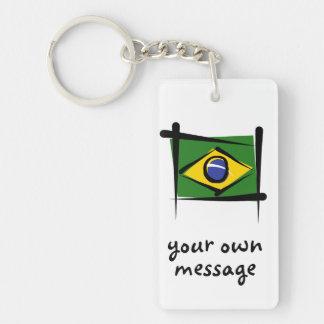 Bandera del cepillo del Brasil Llavero Rectangular Acrílico A Doble Cara