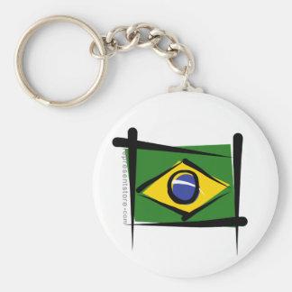 Bandera del cepillo del Brasil Llavero Redondo Tipo Pin