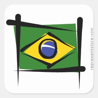 Bandera del cepillo del Brasil Pegatinas Cuadradas