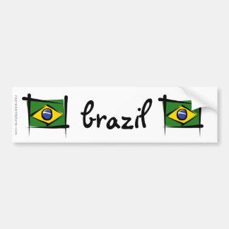 Bandera del cepillo del Brasil Pegatina Para Auto