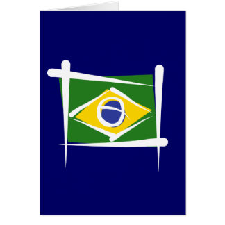 Bandera del cepillo del Brasil Tarjeta De Felicitación