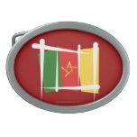 Bandera del cepillo del Camerún Hebilla De Cinturón Oval