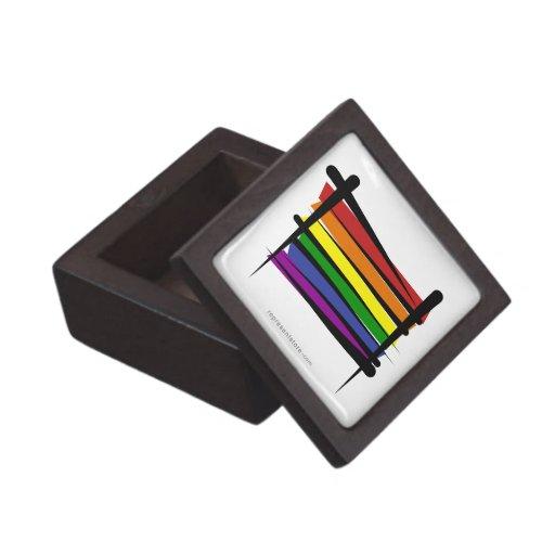 Bandera del cepillo del orgullo gay del arco iris caja de recuerdo de calidad