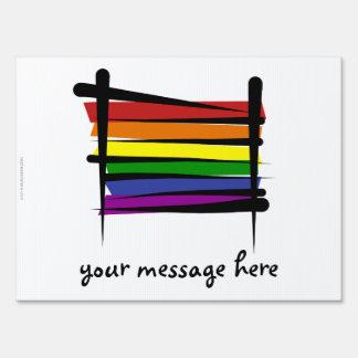 Bandera del cepillo del orgullo gay del arco iris carteles
