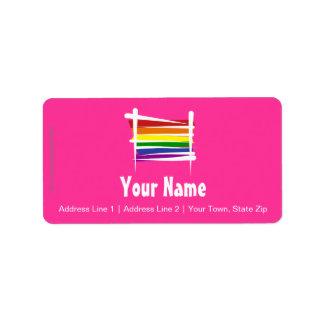 Bandera del cepillo del orgullo gay del arco iris etiqueta de dirección