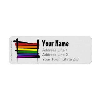 Bandera del cepillo del orgullo gay del arco iris etiqueta de remitente