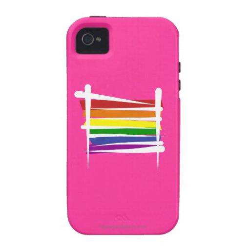 Bandera del cepillo del orgullo gay del arco iris iPhone 4 carcasa