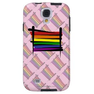 Bandera del cepillo del orgullo gay del arco iris funda para galaxy s4