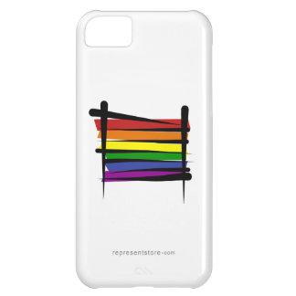 Bandera del cepillo del orgullo gay del arco iris funda para iPhone 5C