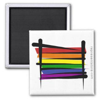 Bandera del cepillo del orgullo gay del arco iris imán cuadrado