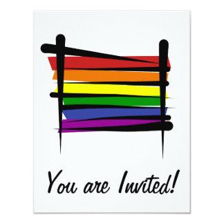 """Bandera del cepillo del orgullo gay del arco iris invitación 4.25"""" x 5.5"""""""