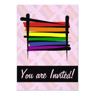 """Bandera del cepillo del orgullo gay del arco iris invitación 5"""" x 7"""""""