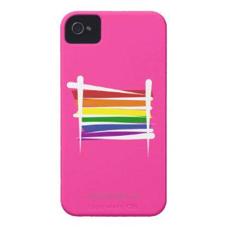 Bandera del cepillo del orgullo gay del arco iris iPhone 4 Case-Mate carcasa
