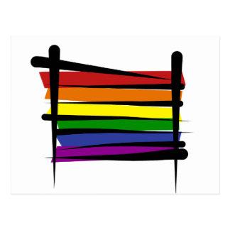 Bandera del cepillo del orgullo gay del arco iris postales
