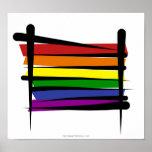 Bandera del cepillo del orgullo gay del arco iris póster