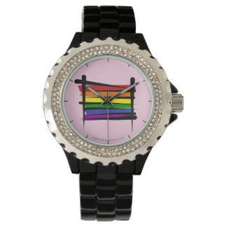 Bandera del cepillo del orgullo gay del arco iris reloj de mano
