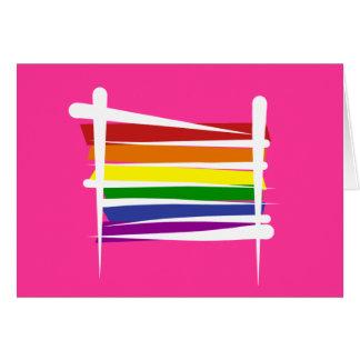 Bandera del cepillo del orgullo gay del arco iris tarjeta de felicitación