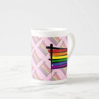 Bandera del cepillo del orgullo gay del arco iris taza de china