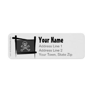 Bandera del cepillo del pirata etiqueta de remite