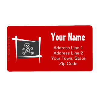 Bandera del cepillo del pirata etiquetas de envío