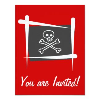 """Bandera del cepillo del pirata invitación 4.25"""" x 5.5"""""""