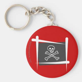 Bandera del cepillo del pirata llavero redondo tipo pin
