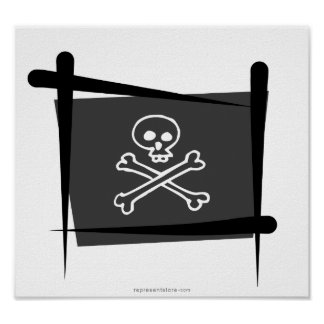 Bandera del cepillo del pirata impresiones