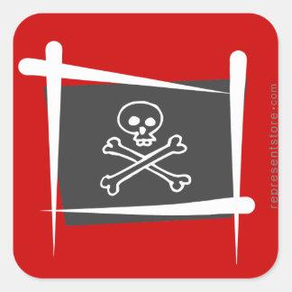 Bandera del cepillo del pirata calcomanias cuadradas