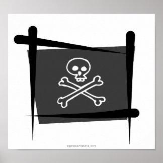 Bandera del cepillo del pirata póster