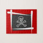 Bandera del cepillo del pirata puzzles con fotos