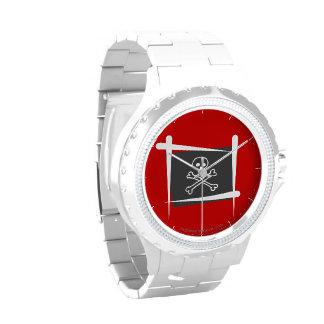 Bandera del cepillo del pirata relojes de pulsera