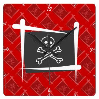 Bandera del cepillo del pirata reloj cuadrado