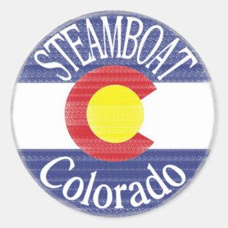 Bandera del círculo de Colorado del barco de vapor Etiqueta Redonda