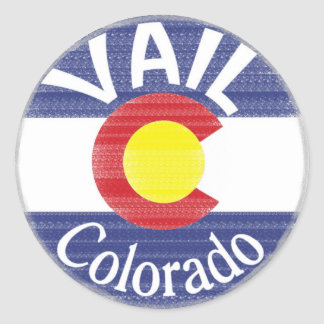 Bandera del círculo de Vail Colorado Pegatina Redonda