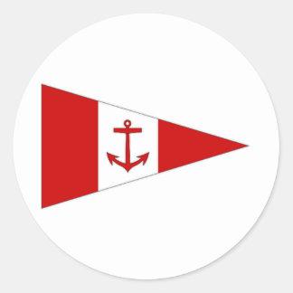 Bandera del club de la navegación de Derg del lago Pegatina Redonda