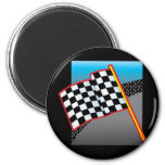 Bandera del coche de carreras iman de nevera