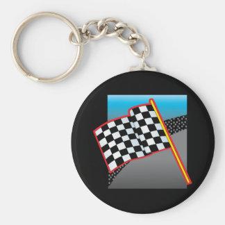 Bandera del coche de carreras llavero redondo tipo pin