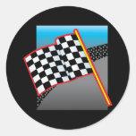 Bandera del coche de carreras pegatina redonda